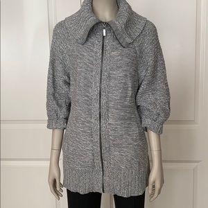 Kenneth Cole Reaction 100% Cotton Grey Zip Sweater